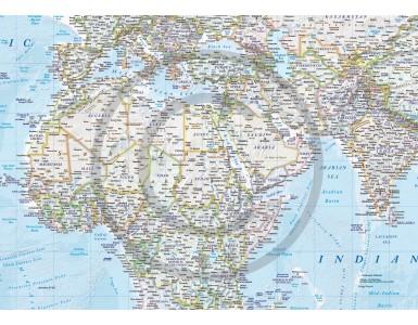 "CANVAS World Map Framed Political & Ocean contour relief Light - Size 60""w x 38""d"