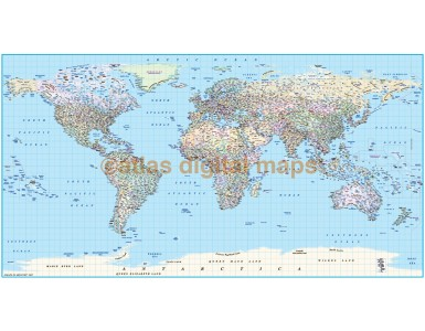 "Political World Map Framed CANVAS (Wide size) 72""w x 38""d"