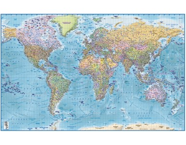 "Framed CANVAS Political Relief Blue World Map - Size 60""w x 38""d"