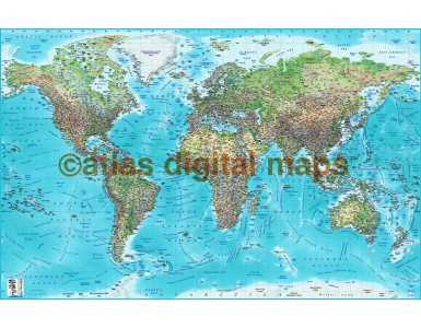 Push Pin World Travel Map Blue Canvas - Political and Relief style Green/Blue/Turquiose 90cm wide x 60cm deep. Canvas World Map stretched.
