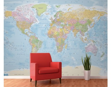 World Political Wall Mural - Large size 4 Piece Map