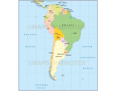 Digital vector South America Political map with Capitals