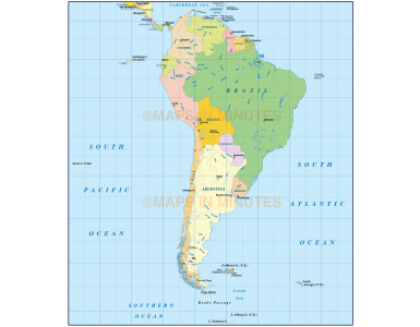 South America Basic Political map