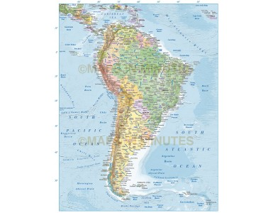 South America vector Political Map with country coloured relief option
