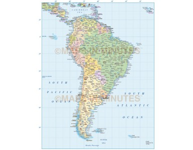 Vector South America map with country fills in Illustrator CS and editable PDF formats.