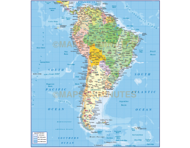 Digital vector South America Political map with sea contours @10,000,000 scale