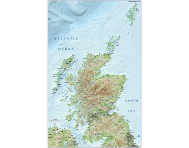 Scotland 1st level Political map with high resolution medium colour relief @1M scale