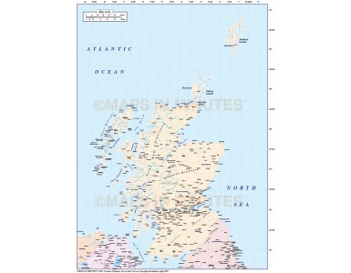 Digital vector Scotland Map with regions including the Northern Isles