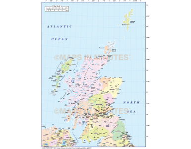Digital vector Scotland Regions Map including the Northern Isles. Royalty free.