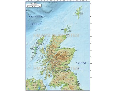 5m scale Scotland Regions map with high res medium colour relief. Relief layer option.