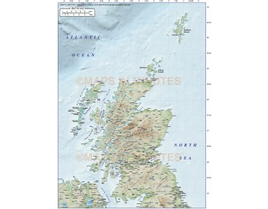 Digital vector Scotland Regions Map with high res Old Style relief, showing Relief option.