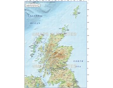 Digital vector Scotland Regions Map with high resolution regular colour relief