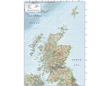 Digital vector Scotland Regions Road Map with high res Old Style relief