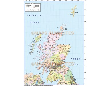 Scotland 1st level Political Road Map including the Northern Isles @5m scale