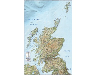 Detailed Scotland Road Rail Map incl. Orkney & Shetland, Illustrator AI format, large 750k. High Res Regular relief