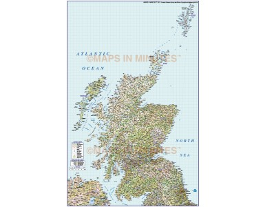 Detailed Scotland Road & Rail Map incl. Orkney & Shetland, Illustrator AI CS format, large 500k scale