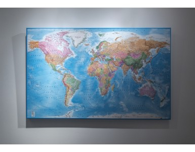 "CANVAS World Map Framed Political & Ocean contour relief Bold fonts and colouring - Size 60""w x 38""d"