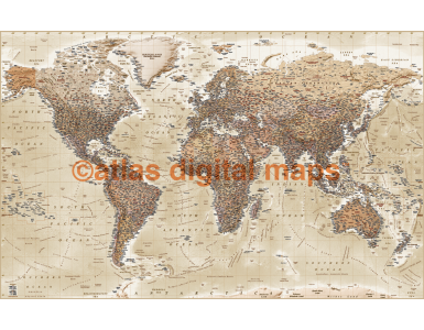 Push Pin World Travel Map NEUTRAL BEIGE SAND Detailed Canvas - Physical & Political Standard 90cmx60cm Pinboard/Pushpin
