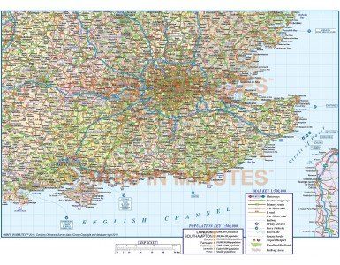 Vector south east England map with roads and railways at 500,000 scale in Illustrator and pdf formats