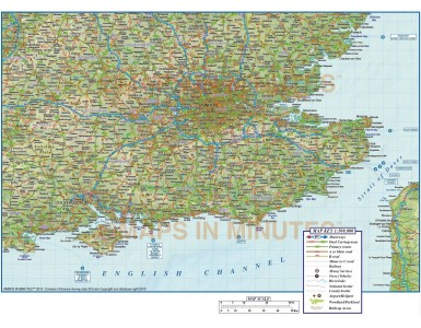 South East England County, Road & Rail Map with Regular relief @500k scale