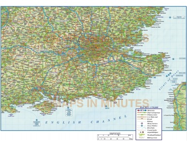 South East England County Road & Rail Map with Regular relief @750k scale
