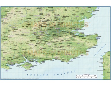 Digital vector South East England map, County with Regular relief @1:1,000,000 scale