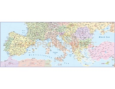 Digital vector southern Europe map, in Illustrator and pdf format
