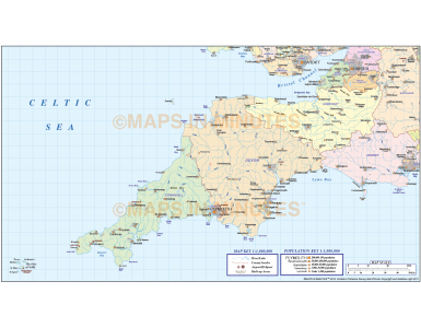 Digital vector South West England County Map @1m scale
