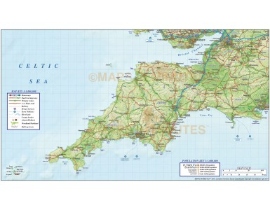 South West England County Road & Rail Map with Regular relief @1m scale