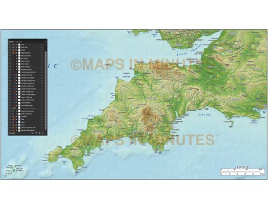 South West England County Map plus Strong colour relief @1m scale