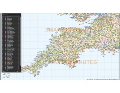 South West England County Road & Rail Map @750k scale showing layering