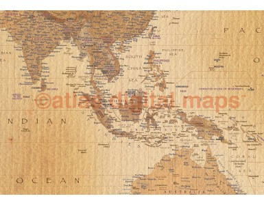 World Wall Map Tan Antique style Framed Canvas, 60 inches wide x 38 inches deep