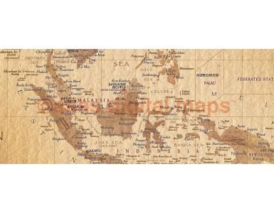 "Tan World Map VINYL print, Antique style - Large size 60""w x 38""d"