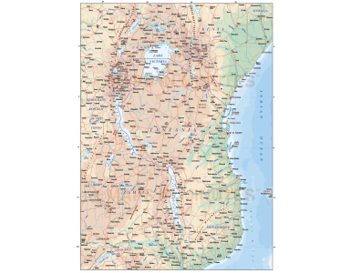 Digital vector Tanzania map, road & rail plus land and sea contours in Illustrator format, showing mixture of roads and contour layers