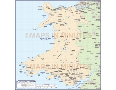Wales Map, Illustrator AI CS editable vector format 1m scale