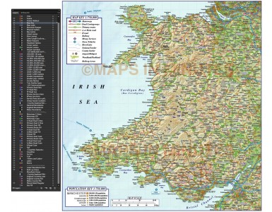 Wales 1st level Political Road & Rail Map plus Regular relief @750k