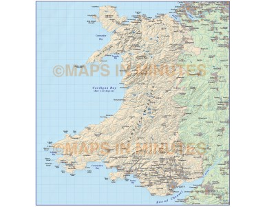 Digital vector map of Wales, Basic Country map with Hill shading