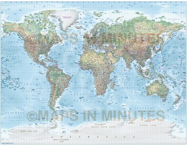 Detailed World Map Illustrator format, CS6/CC AI vector, Political and Relief options, Gall projection. Fully editable Illustrator layered. High resolution 300dpi relief background.