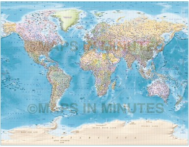 Gall Large World Political and Country Relief Map of land plus ocean floor
