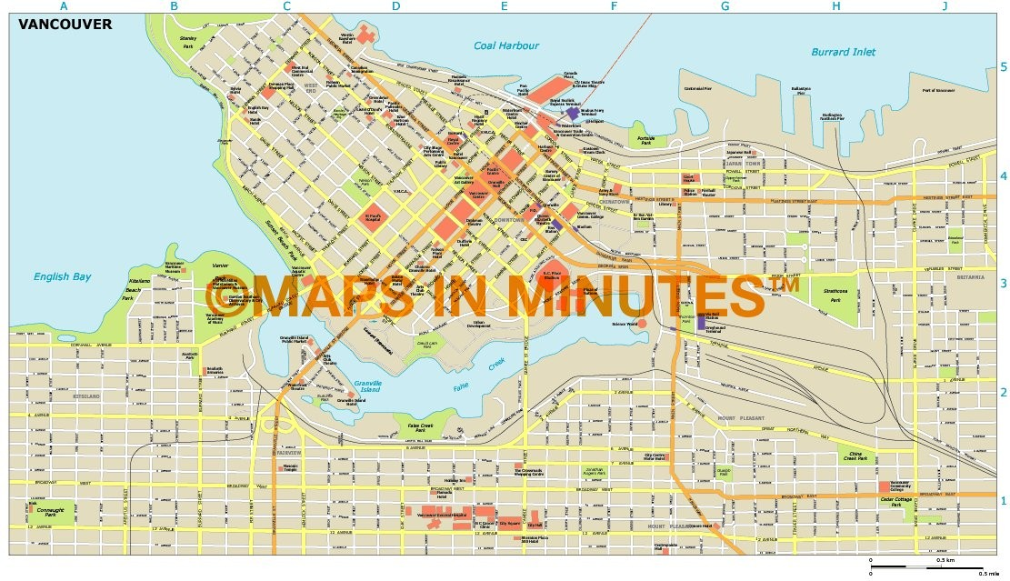 Royalty free vancouver illustrator vector format city map vancouver city map in illustrator cs or pdf format gumiabroncs Image collections