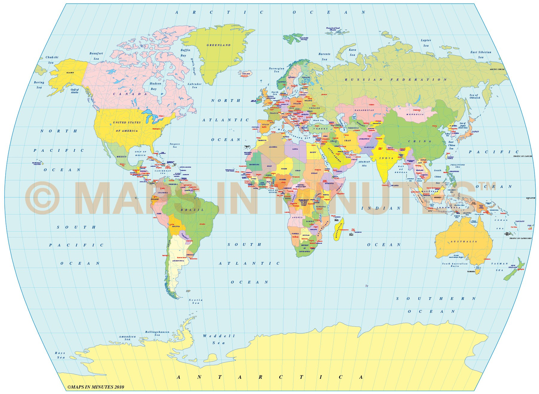 Digital vector royalty free world political map in the the times digital vector world map times projection 100m scale uk centric political gumiabroncs Images