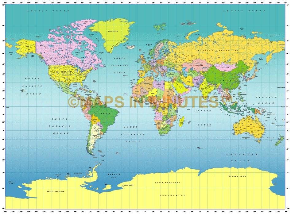medium scale digital vector Miller Stereographic world map in illustrator cs