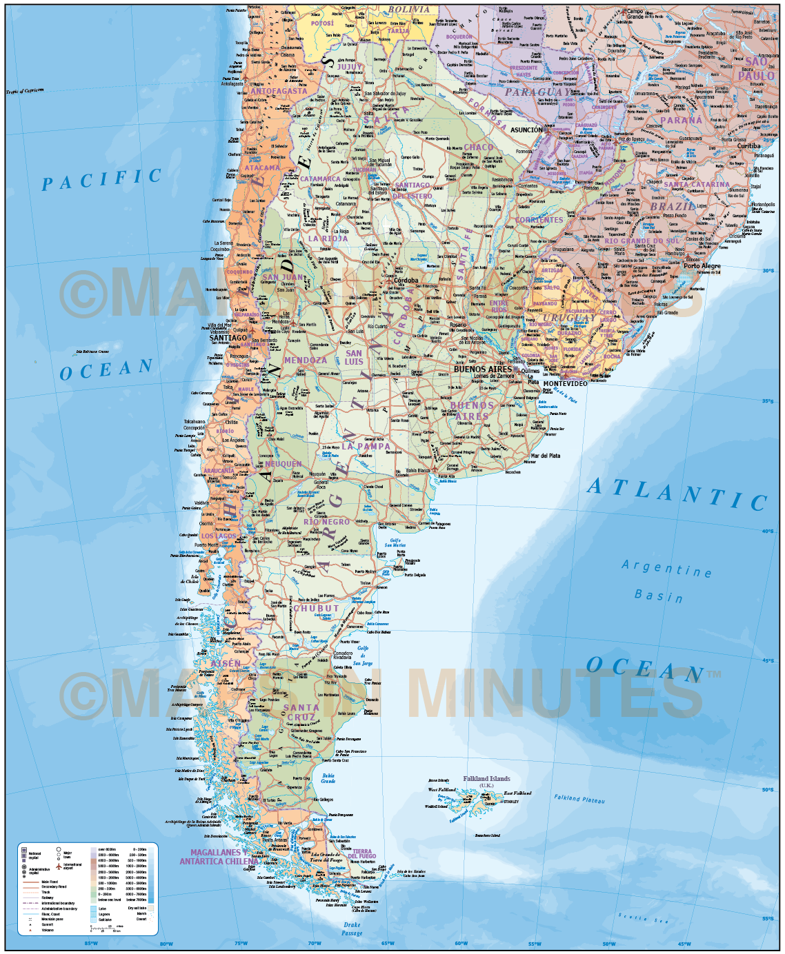 Digital Vector Argentina Deluxe Political Road Rail Map Plus - Map argentina
