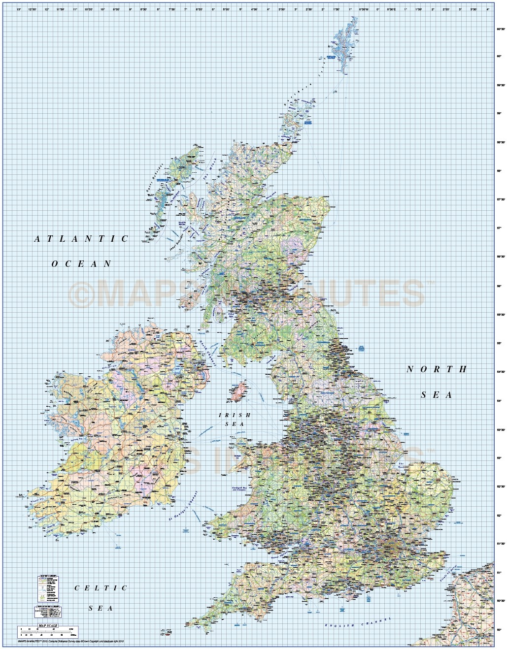 british isles UK county road and rail map 1m scale in – Road Map Uk