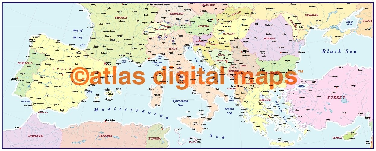digital vector southern Europe map, basic version in Illustrator and