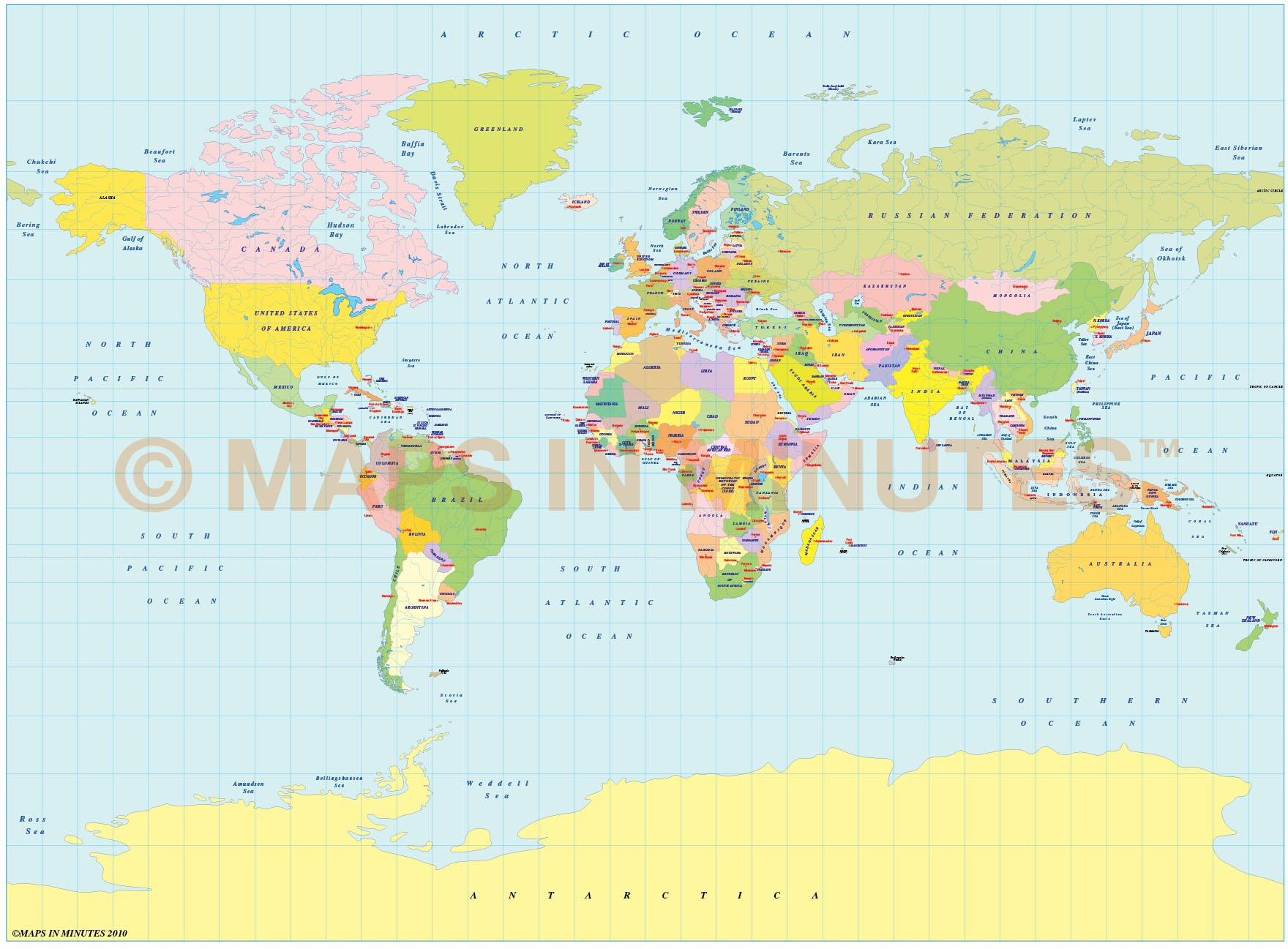 Vector world map, Miller Projection Political map small ...