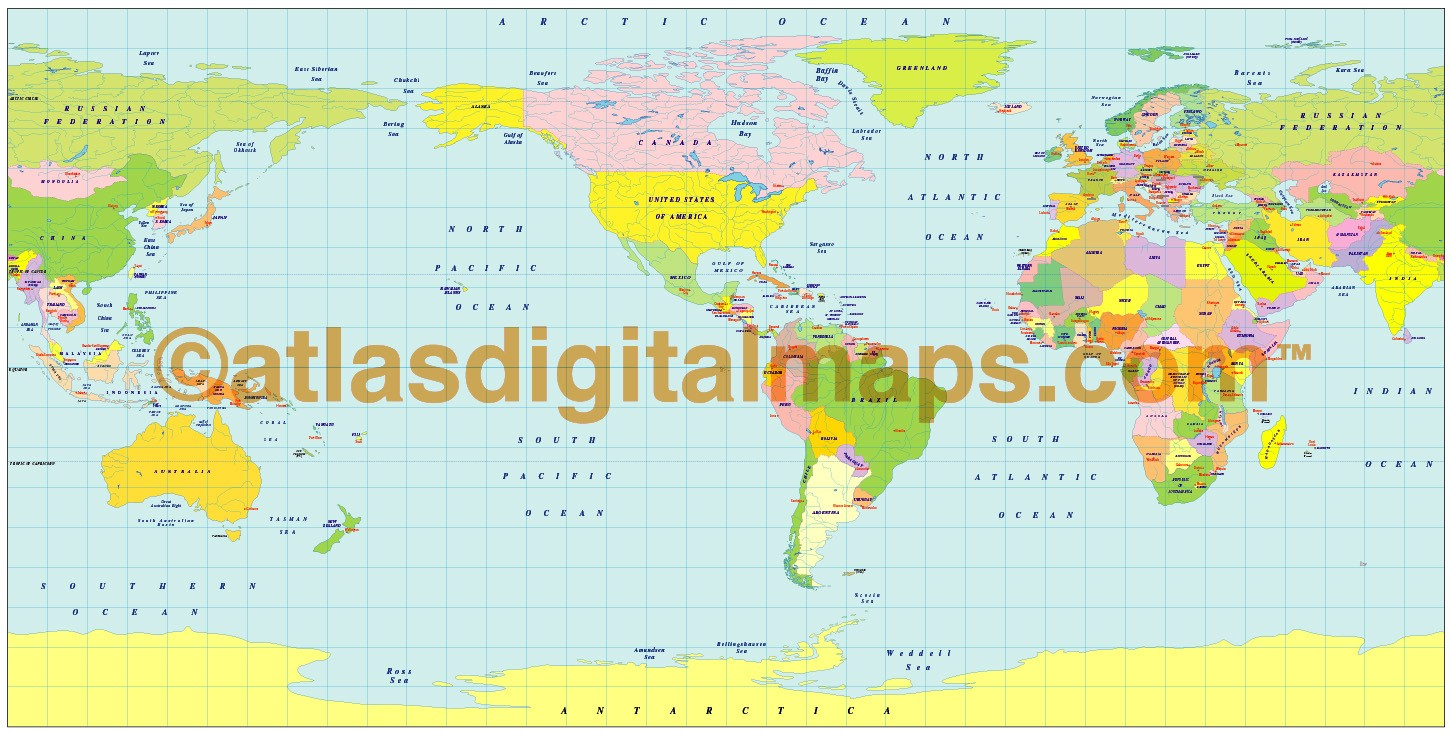 Plate Carr e Projection 100m scale US centric world map Small World Politi