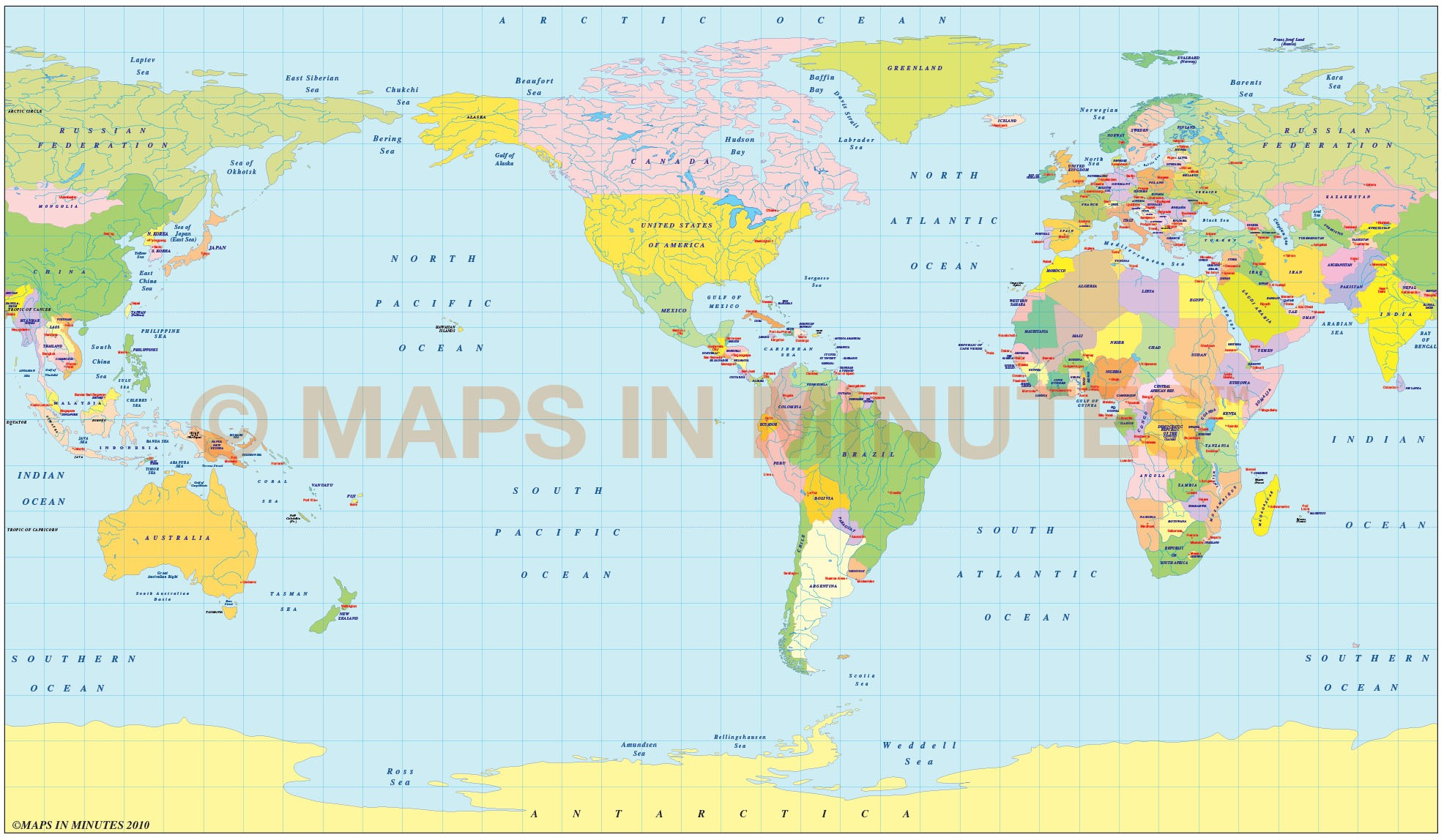Vector World Political Map In The Equirectangular Projection Us