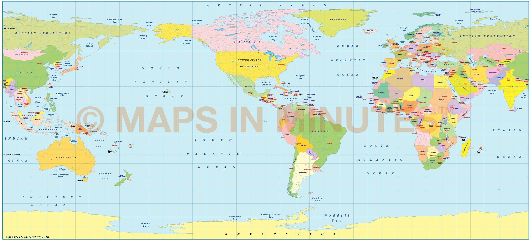 Pavlov Projection @100m scale US centric world map - Small World ...