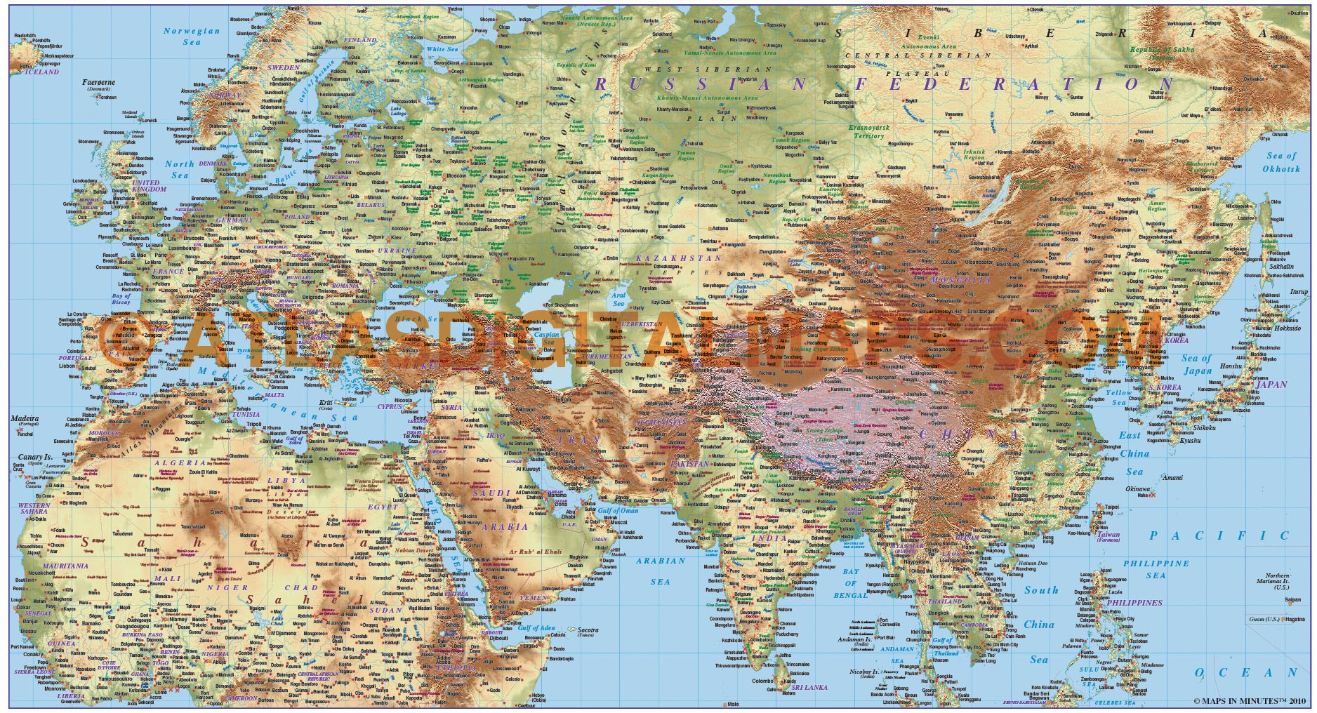 Map Of Africa Europe And Asia.Digital Vector Europe Asia North Africa Large Relief Map In